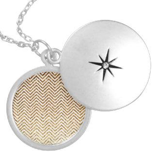 Cool Golden Glitter Chevron Pattern Round Locket Necklace