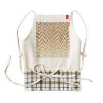 Cool Golden Glitter Chevron Pattern Zazzle HEART Apron