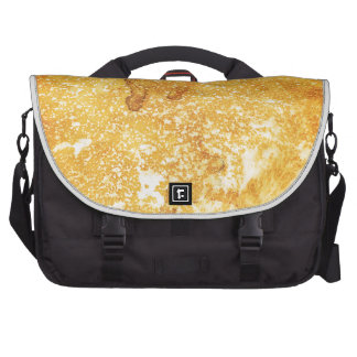 Cool golden yellow bleached paint effect laptop bag