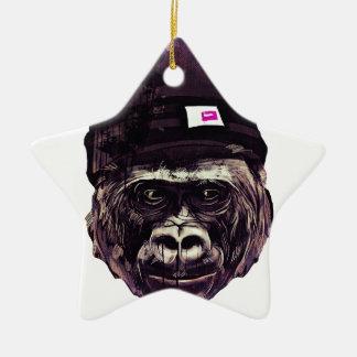 Cool Gorilla with cap Ceramic Ornament