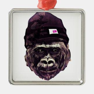 Cool Gorilla with cap Metal Ornament