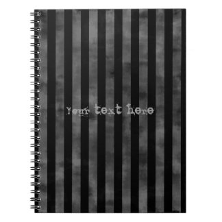 Cool goth punk grungy black and gray dark stripes notebook
