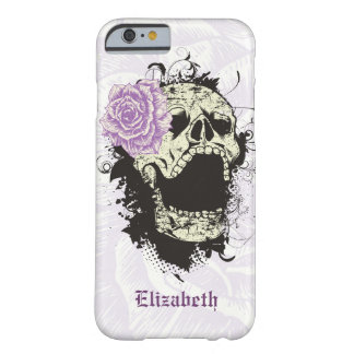 Cool gothic skull and purple rose barely there iPhone 6 case