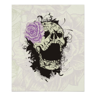 Cool gothic skull and purple rose custom poster