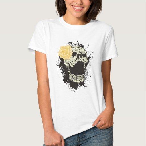 Cool gothic skull and yellow rose custom t-shirt