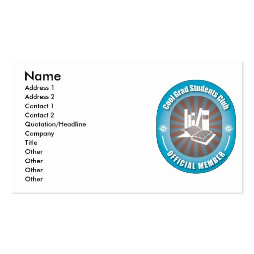 Cool Grad Students Club Double-Sided Standard Business Cards (Pack Of 100)