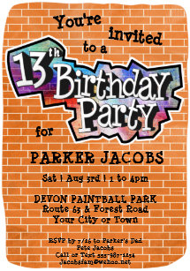 Cool Graffiti Art 13th Birthday Party Invitation