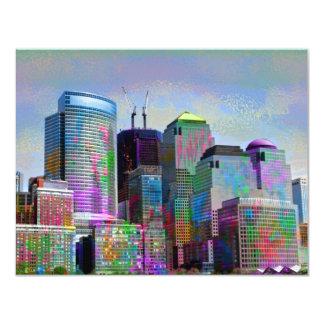 Cool graffiti splatters watercolours New York city 4.25x5.5 Paper Invitation Card