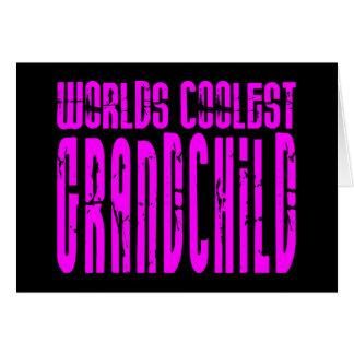Cool Grandchildren Pink  Worlds Coolest Grandchild Card