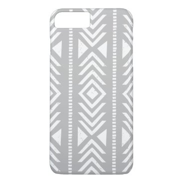Aztec Themed Cool Gray and White Tribal Pattern iPhone 7 Plus Case