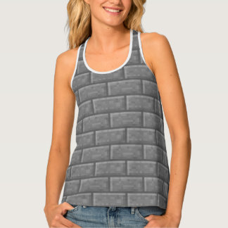 Cool Gray Brick Pixel Graphic Video Game Tank Top