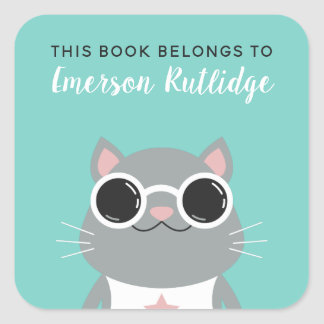 Cool Gray Cat | Turquoise This Book Belongs To Square Sticker
