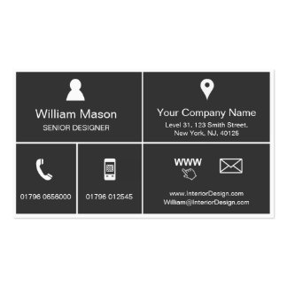Cool Gray Metro Style Design - Business Card