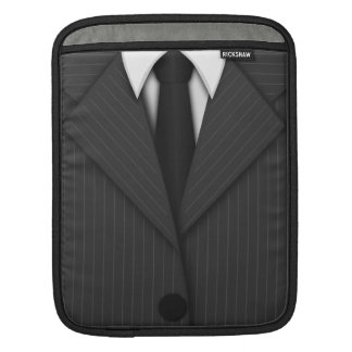 Cool Gray Pinstripe Suit and Tie iPad Sleeves