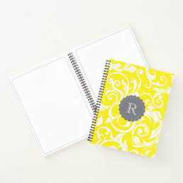 Cool Gray Yellow Floral Wallpaper Swirl Monogram Notebook