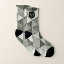 Cool Grayscale triangle geometric pattern Monogram Socks