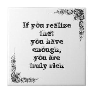 Cool great simple wisdom philosophy tao sentence ceramic tile