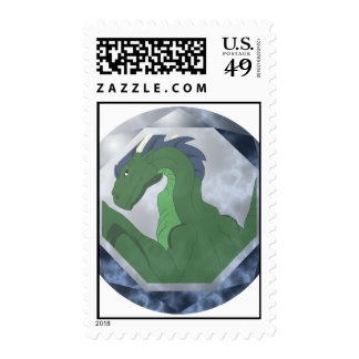 Cool Green And Blue Dragon Gem Stamp