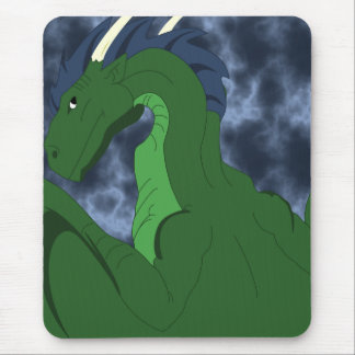 Cool Green And Blue Dragon Mouse Pad