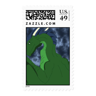 Cool Green And Blue Dragon Postage Stamp