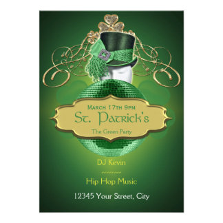 Cool Green and Gold St. Patrick Party Invitation