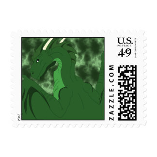 Cool Green And Green Dragon Postage