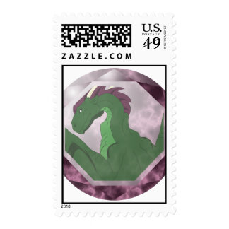 Cool Green And Pink Dragon Gem Postage Stamps