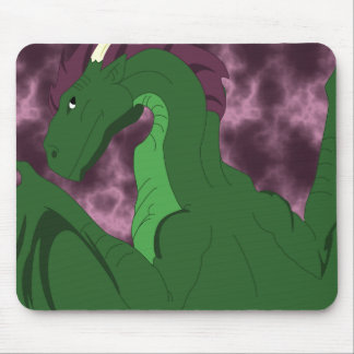 Cool Green And Pink Dragon Mouse Pad