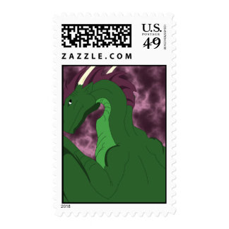 Cool Green And Pink Dragon Postage Stamp