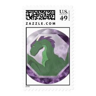Cool Green And Purple Dragon Gem Stamp
