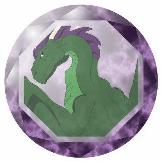 Cool Green And Purple Dragon Gem Statuette