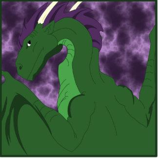 Cool Green And Purple Dragon Statuette