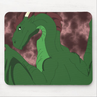 Cool Green And Red Dragon Mouse Pad