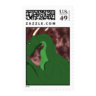 Cool Green And Red Dragon Postage