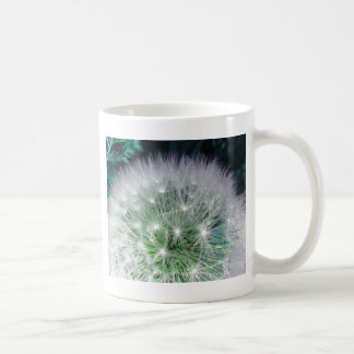 Cool green and white dandelion with waterdrops coffee mug