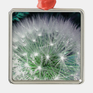 Cool green and white dandelion with waterdrops christmas tree ornaments