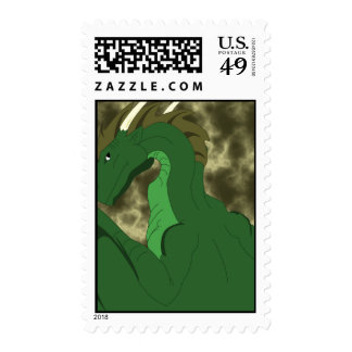 Cool Green And Yellow Dragon Stamp