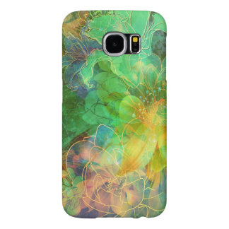Cool Green And Yellow Tones Abstract Floral Samsung Galaxy S6 Case