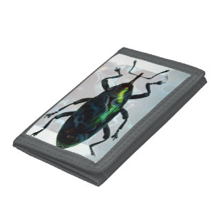 Cool Green Beetle Trifold Wallet