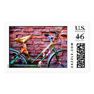 Cool Green Bicycle Leaning Against a Brick Wall Stamps