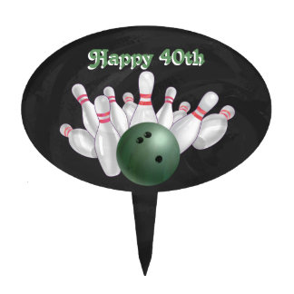 Cool Green Bowling Ball Party Cake Topper
