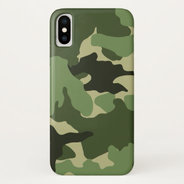 Cool Green Camo Pattern Background Manly Military iPhone XS Case