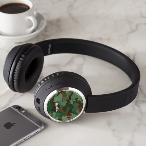 Cool green camo print headphones