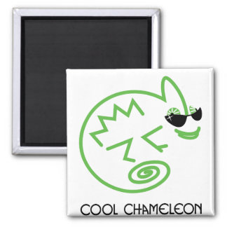 Cool Green Chameleon 2 Inch Square Magnet
