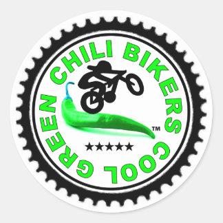 Cool Green Chili Bikers Classic Round Sticker