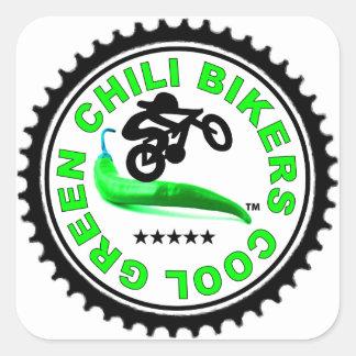 Cool Green Chili Bikers Square Sticker