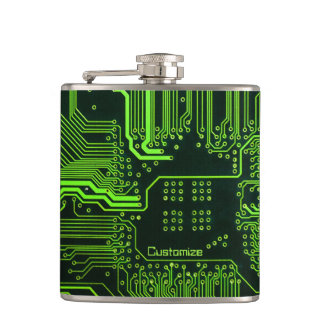Cool Green Computer Circuit Board Hip Flask