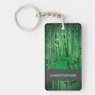Cool Green Computer Circuit Board Monogram Keychain