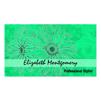 Cool Green Daisy Stylist Appointment Business Card Business Card Template