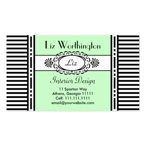 Cool Green Damask and Stripes Customizable Business Card Templates